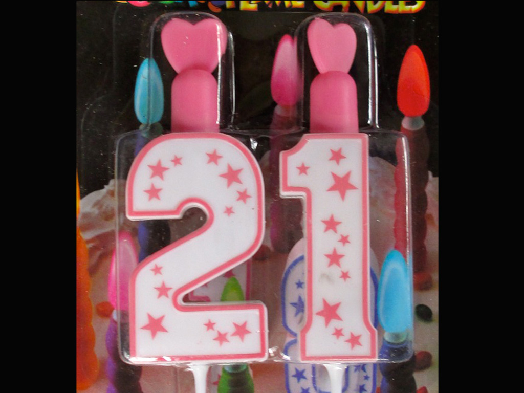 21st Birthday Candle Pink Flame Party Non Wax And Reusable